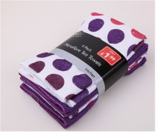printed microfibre cloth (purple circle)